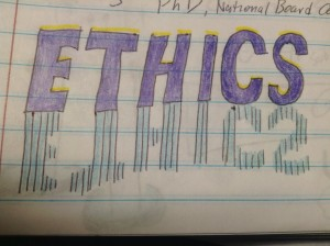 "A doodle of the word ""ethics"""